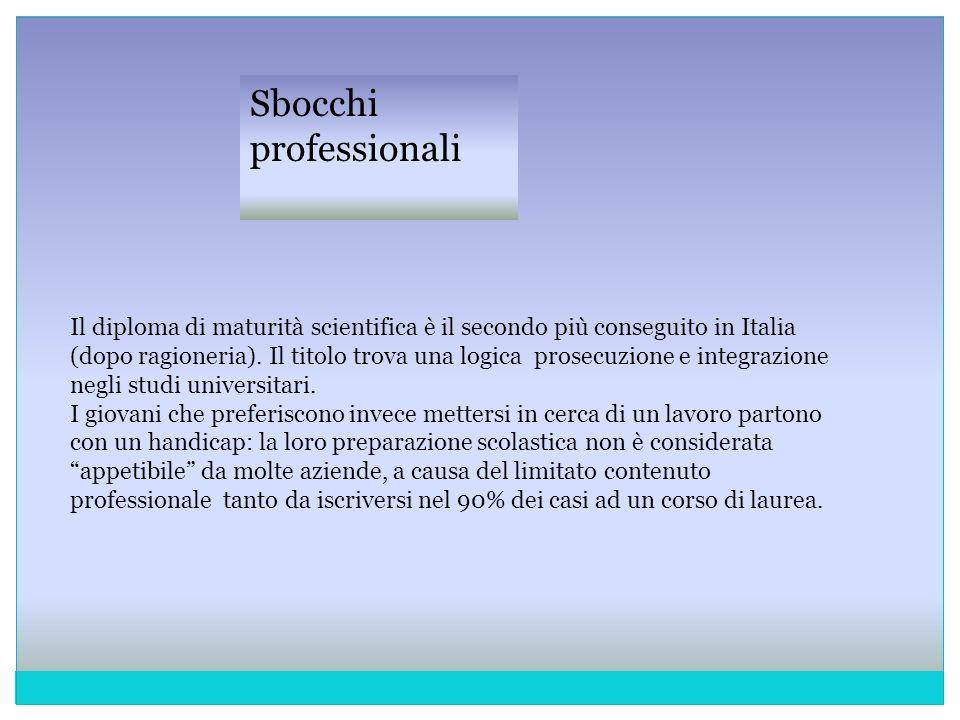 Il diploma di maturità scientifica è il secondo più conseguito in Italia (dopo ragioneria). Il titolo trova una logica prosecuzione e integrazione neg