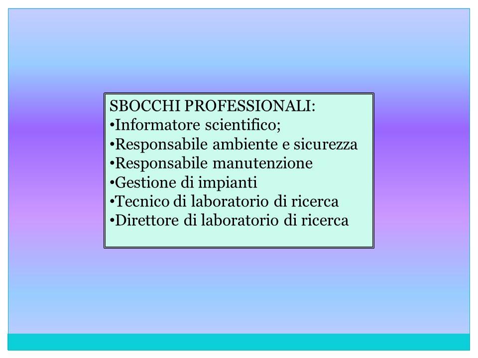 SBOCCHI PROFESSIONALI: Informatore scientifico; Responsabile ambiente e sicurezza Responsabile manutenzione Gestione di impianti Tecnico di laboratori