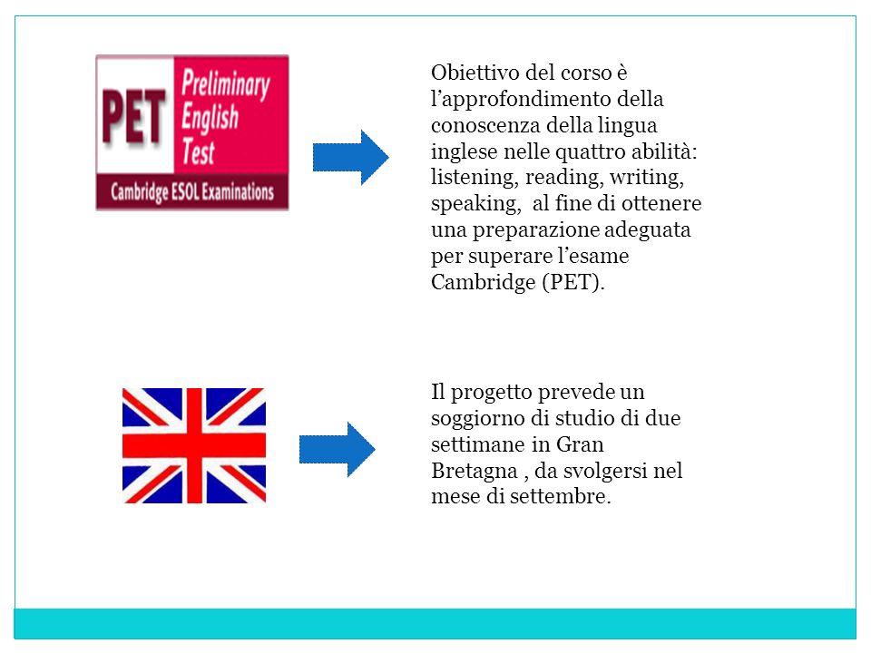 Obiettivo del corso è lapprofondimento della conoscenza della lingua inglese nelle quattro abilità: listening, reading, writing, speaking, al fine di