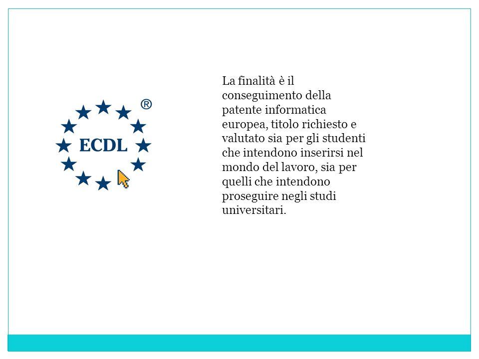 La finalità è il conseguimento della patente informatica europea, titolo richiesto e valutato sia per gli studenti che intendono inserirsi nel mondo d