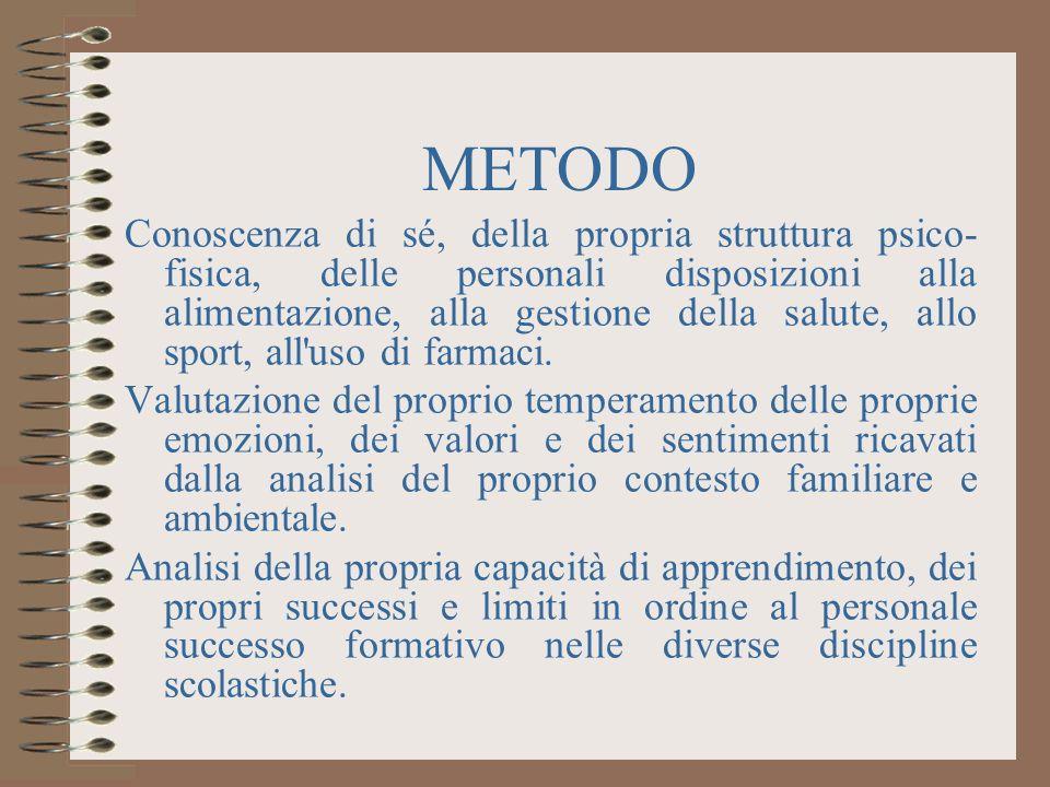 METODO Conoscenza di sé, della propria struttura psico- fisica, delle personali disposizioni alla alimentazione, alla gestione della salute, allo sport, all uso di farmaci.