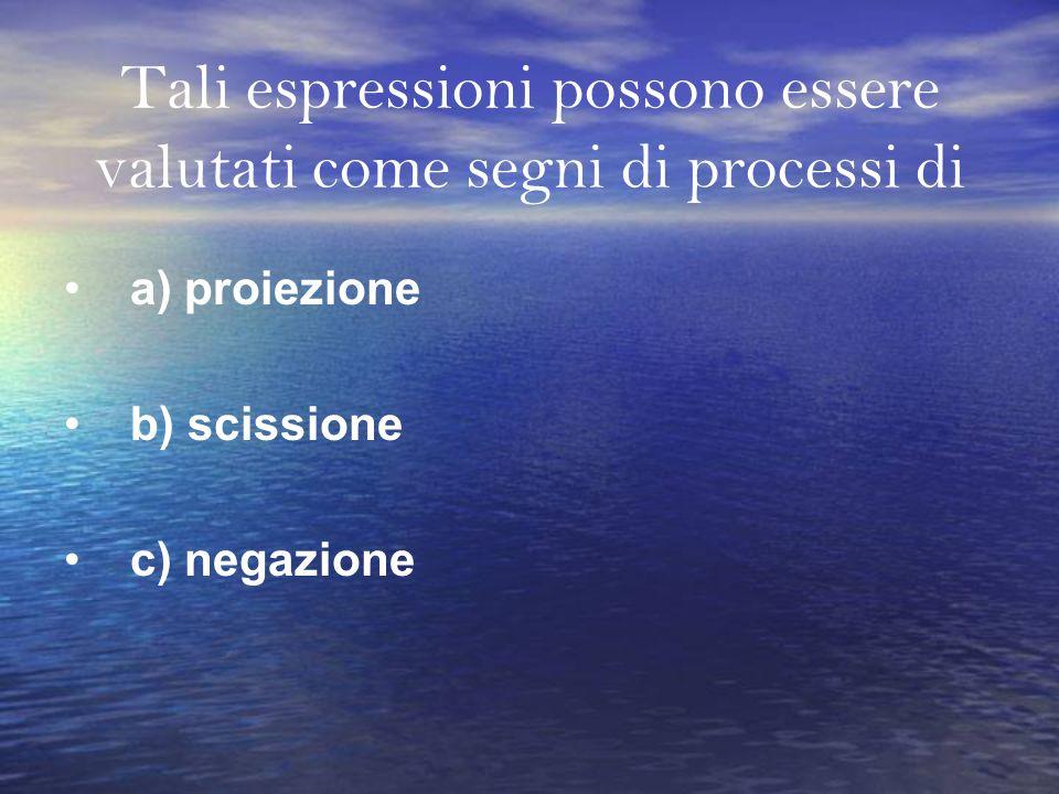 Tali espressioni possono essere valutati come segni di processi di a) proiezione b) scissione c) negazione
