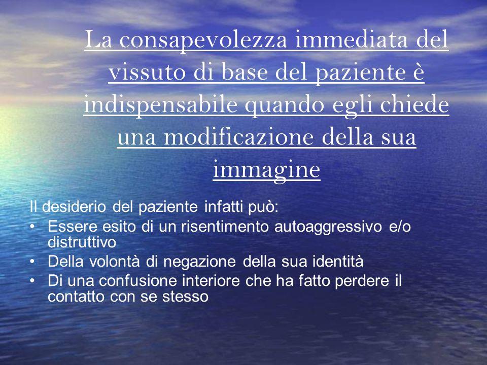 La consapevolezza immediata del vissuto di base del paziente è indispensabile quando egli chiede una modificazione della sua immagine Il desiderio del