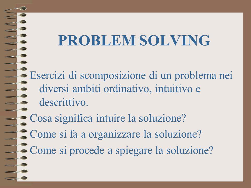 PROBLEM SOLVING Esercizi di scomposizione di un problema nei diversi ambiti ordinativo, intuitivo e descrittivo.
