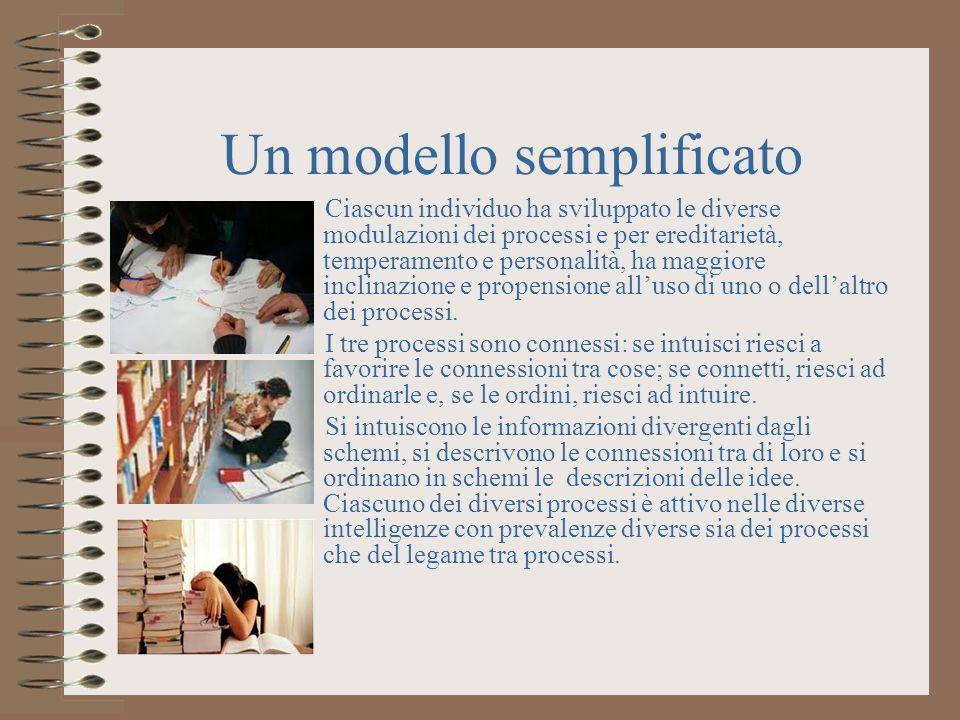 Un modello semplificato Ciascun individuo ha sviluppato le diverse modulazioni dei processi e per ereditarietà, temperamento e personalità, ha maggiore inclinazione e propensione alluso di uno o dellaltro dei processi.