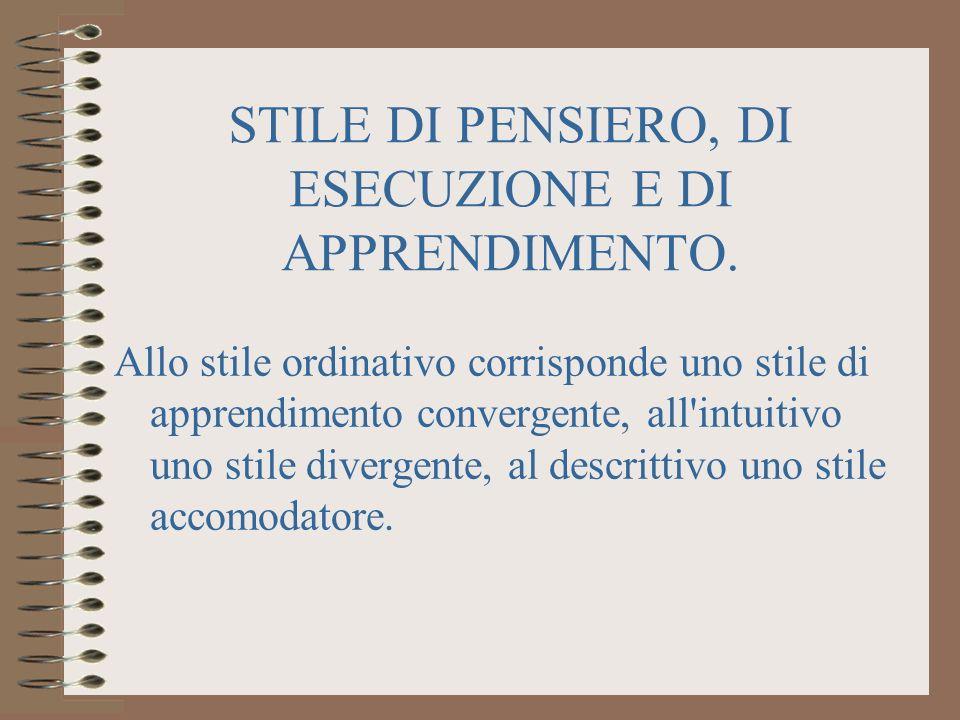 STILE DI PENSIERO, DI ESECUZIONE E DI APPRENDIMENTO.