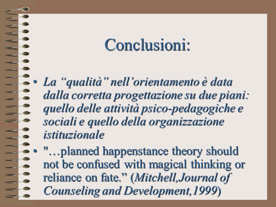 Conclusioni: La qualità nellorientamento è data dalla corretta progettazione su due piani: quello delle attività psico-pedagogiche e sociali e quello