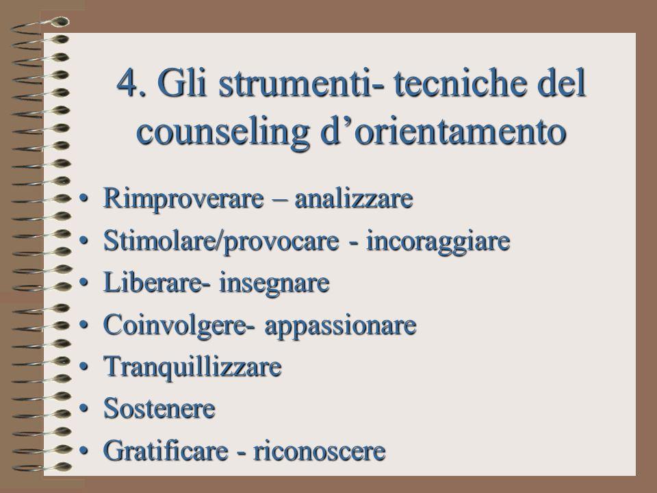 4. Gli strumenti- tecniche del counseling dorientamento Rimproverare – analizzareRimproverare – analizzare Stimolare/provocare - incoraggiareStimolare