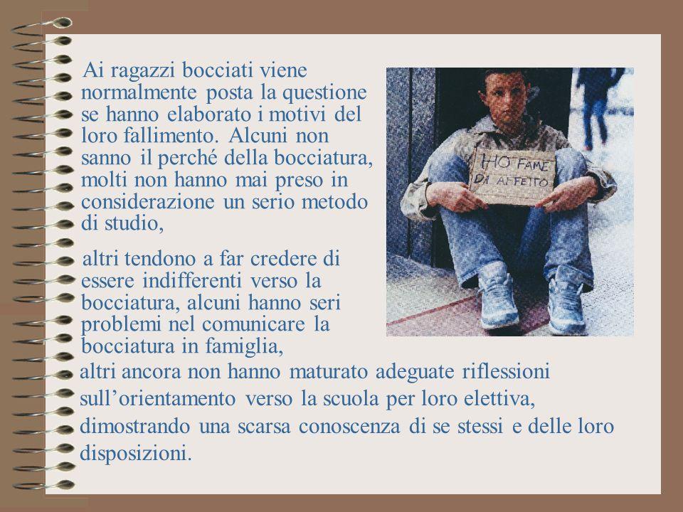 TRE TIPOLOGIE DI BOCCIATI 1) I delusi-illusi con il dispiacere per la caduta di speranza sulla magnanimità dei docenti.