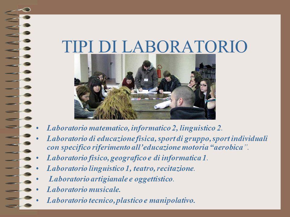 TIPI DI LABORATORIO Laboratorio matematico, informatico 2, linguistico 2.