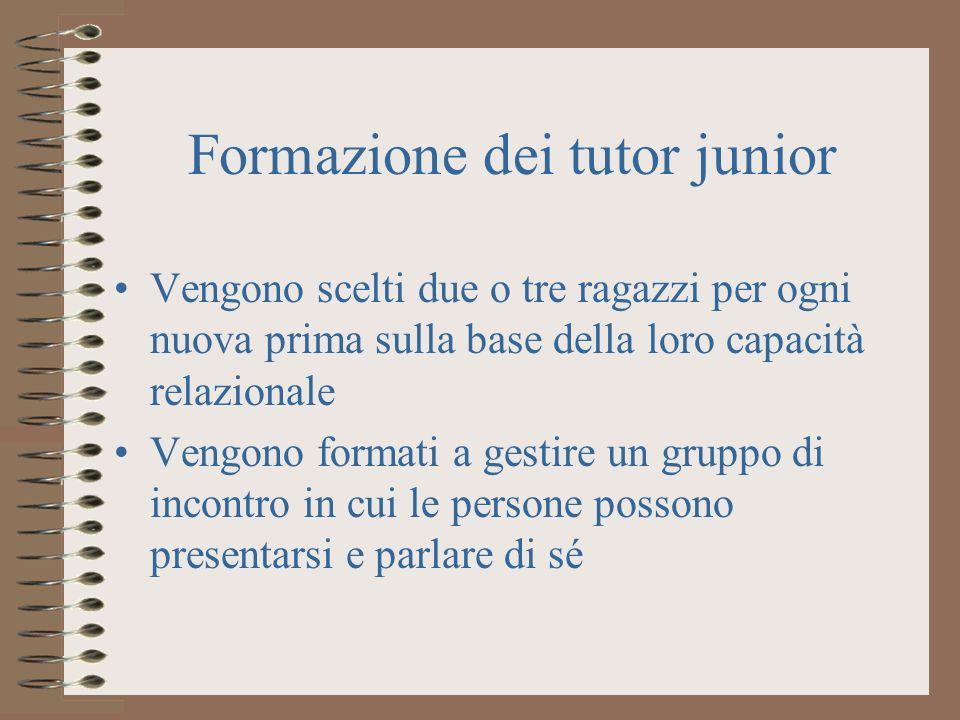 Formazione dei tutor junior Vengono scelti due o tre ragazzi per ogni nuova prima sulla base della loro capacità relazionale Vengono formati a gestire