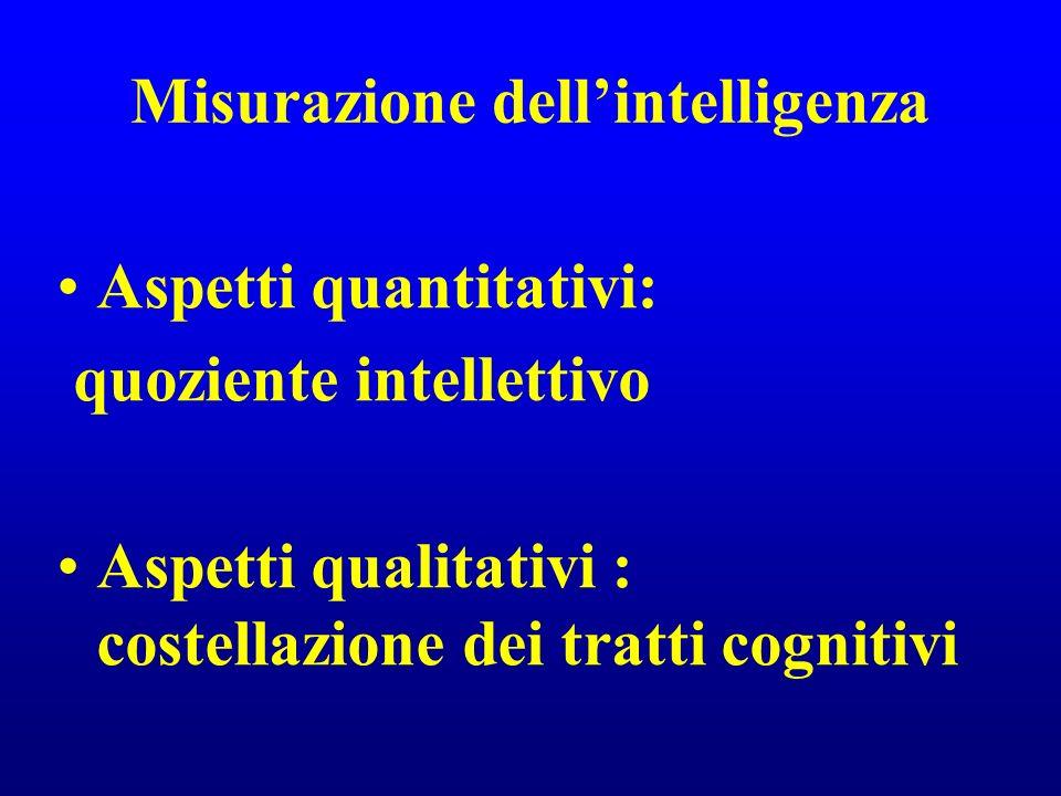 Misurazione dellintelligenza Aspetti quantitativi: quoziente intellettivo Aspetti qualitativi : costellazione dei tratti cognitivi