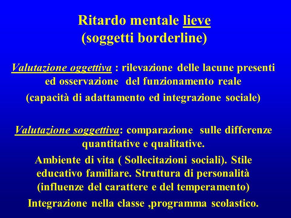 Ritardo mentale lieve (soggetti borderline) Valutazione oggettiva : rilevazione delle lacune presenti ed osservazione del funzionamento reale (capacit