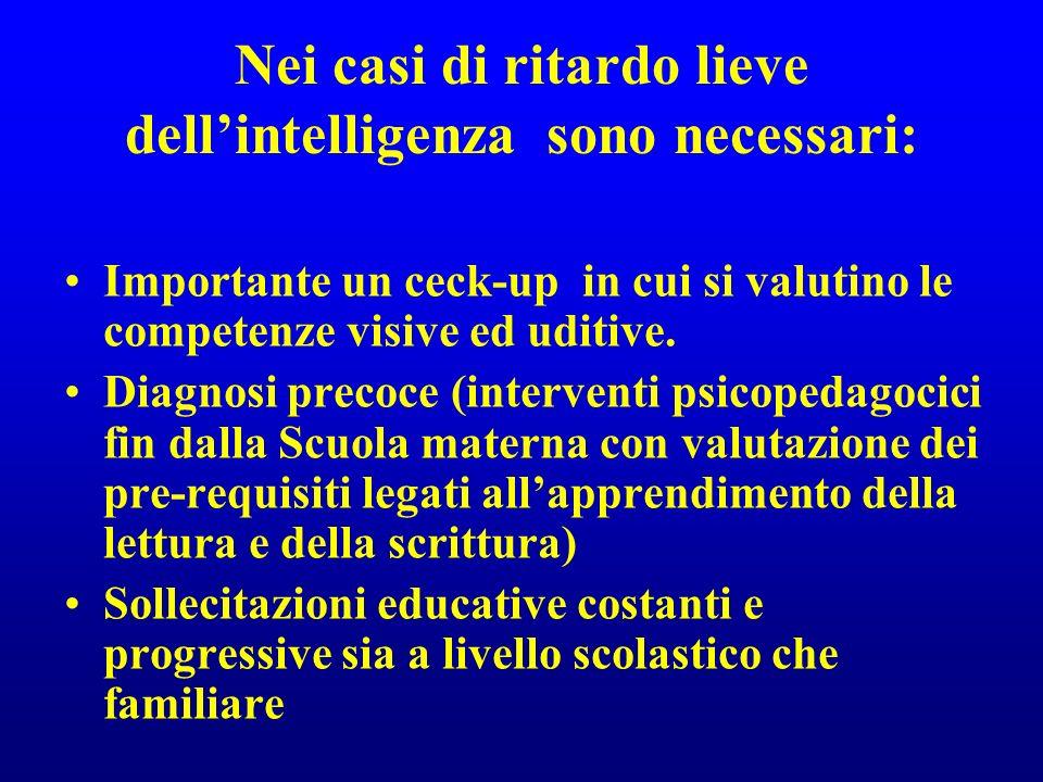 Nei casi di ritardo lieve dellintelligenza sono necessari: Importante un ceck-up in cui si valutino le competenze visive ed uditive. Diagnosi precoce