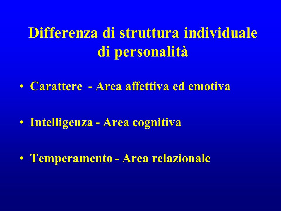 Differenza di struttura individuale di personalità Carattere - Area affettiva ed emotiva Intelligenza - Area cognitiva Temperamento - Area relazionale