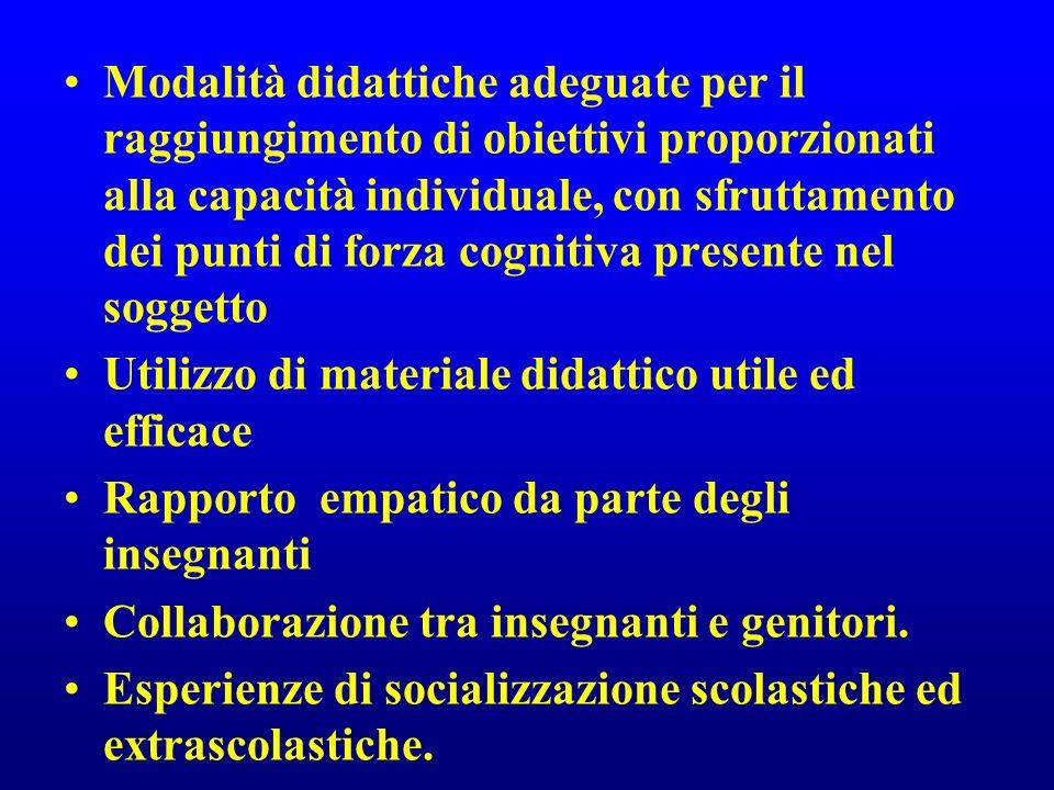 Modalità didattiche adeguate per il raggiungimento di obiettivi proporzionati alla capacità individuale, con sfruttamento dei punti di forza cognitiva