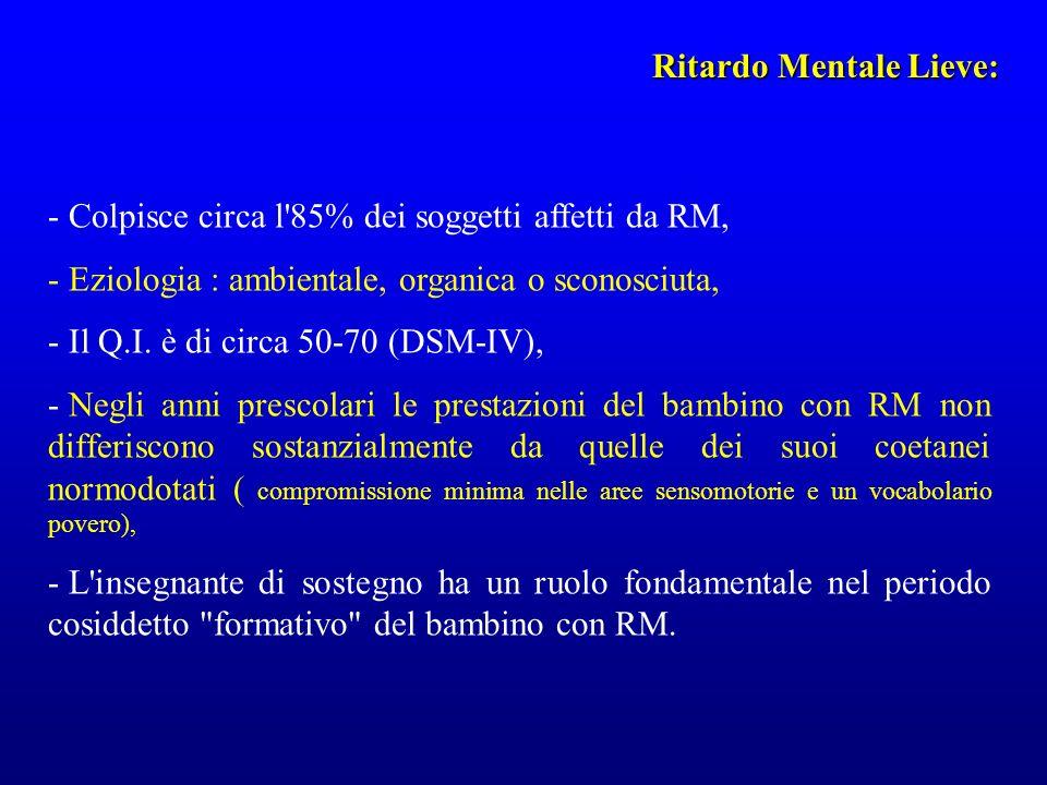 Ritardo Mentale Lieve: - Colpisce circa l'85% dei soggetti affetti da RM, - Eziologia : ambientale, organica o sconosciuta, - Il Q.I. è di circa 50-70