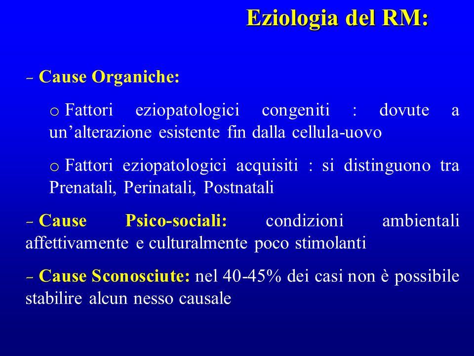 - Cause Organiche: o Fattori eziopatologici congeniti : dovute a unalterazione esistente fin dalla cellula-uovo o Fattori eziopatologici acquisiti : s