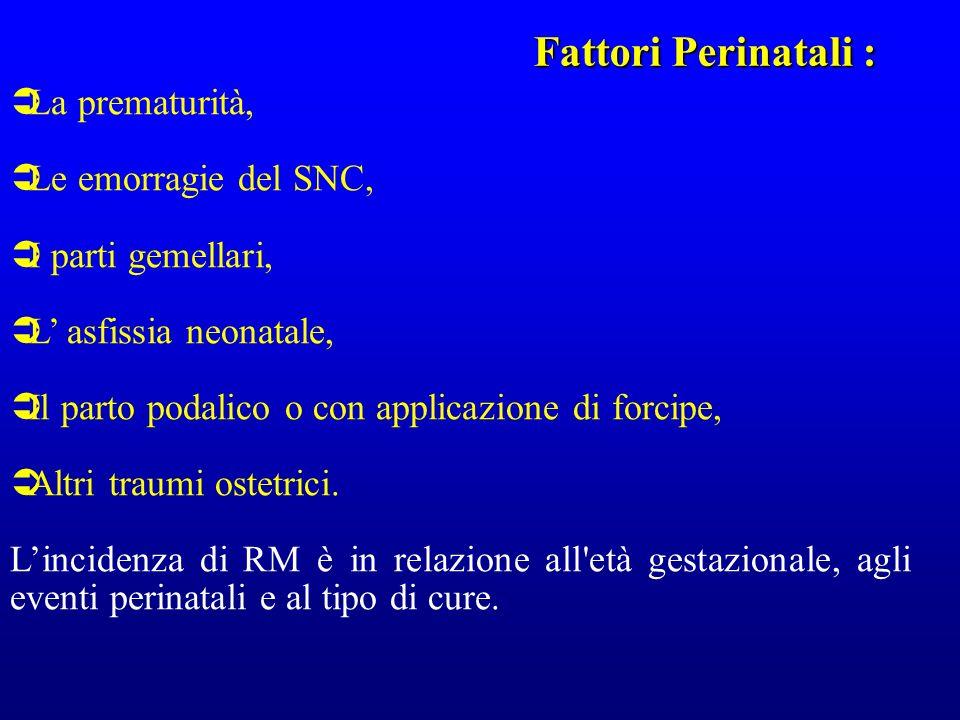 La prematurità, Le emorragie del SNC, I parti gemellari, L asfissia neonatale, Il parto podalico o con applicazione di forcipe, Altri traumi ostetrici