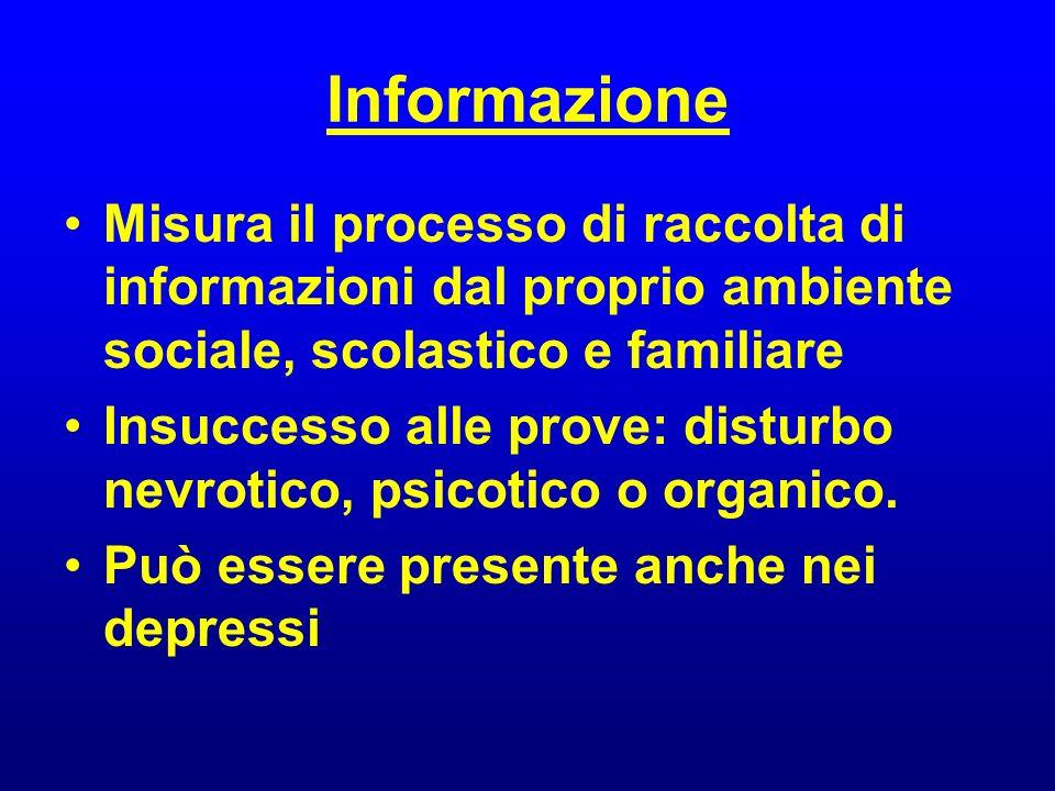 Informazione Misura il processo di raccolta di informazioni dal proprio ambiente sociale, scolastico e familiare Insuccesso alle prove: disturbo nevro