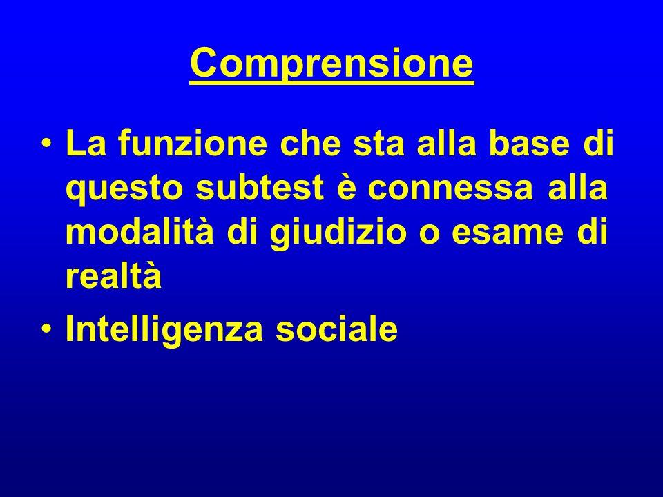 Comprensione La funzione che sta alla base di questo subtest è connessa alla modalità di giudizio o esame di realtà Intelligenza sociale