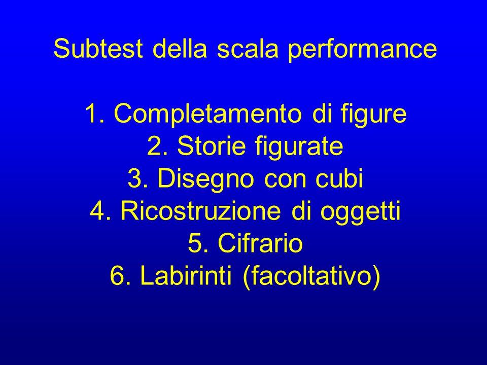Subtest della scala performance 1. Completamento di figure 2. Storie figurate 3. Disegno con cubi 4. Ricostruzione di oggetti 5. Cifrario 6. Labirinti