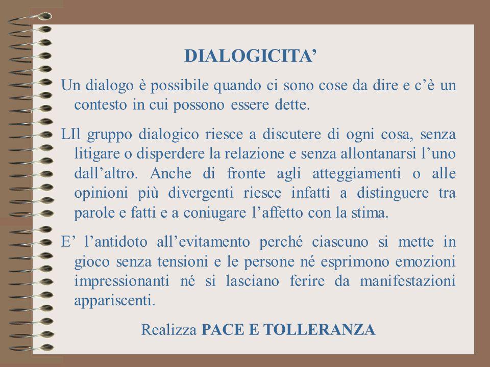 Un dialogo è possibile quando ci sono cose da dire e cè un contesto in cui possono essere dette.