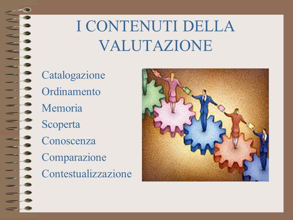 I CONTENUTI DELLA VALUTAZIONE Catalogazione Ordinamento Memoria Scoperta Conoscenza Comparazione Contestualizzazione
