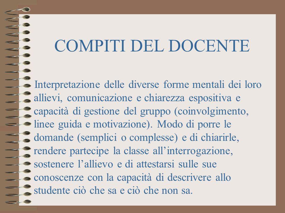 COMPITI DEL DOCENTE Interpretazione delle diverse forme mentali dei loro allievi, comunicazione e chiarezza espositiva e capacità di gestione del gruppo (coinvolgimento, linee guida e motivazione).