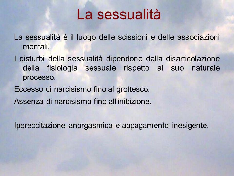 La sessualità La sessualità è il luogo delle scissioni e delle associazioni mentali. I disturbi della sessualità dipendono dalla disarticolazione dell