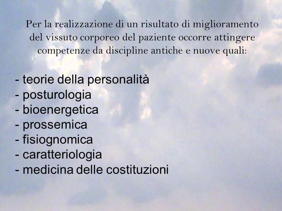 Per la realizzazione di un risultato di miglioramento del vissuto corporeo del paziente occorre attingere competenze da discipline antiche e nuove qua