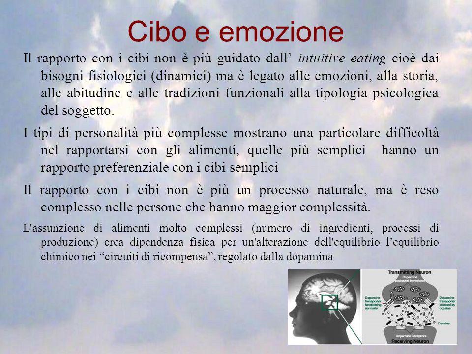Cibo e emozione Il rapporto con i cibi non è più guidato dall intuitive eating cioè dai bisogni fisiologici (dinamici) ma è legato alle emozioni, alla