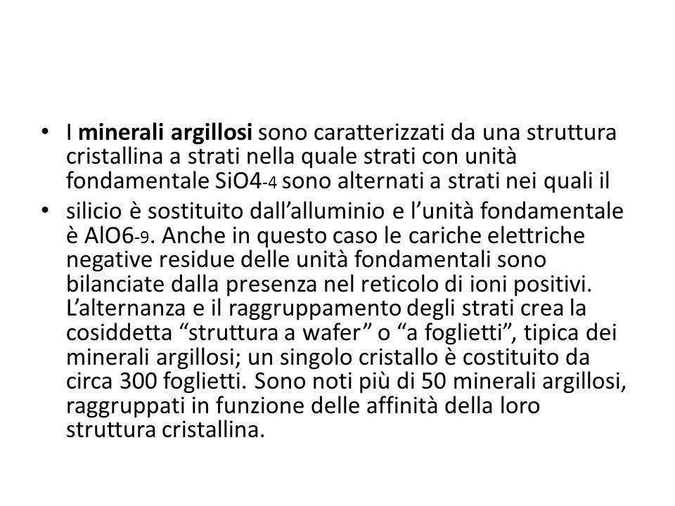 I minerali argillosi sono caratterizzati da una struttura cristallina a strati nella quale strati con unità fondamentale SiO4 -4 sono alternati a stra