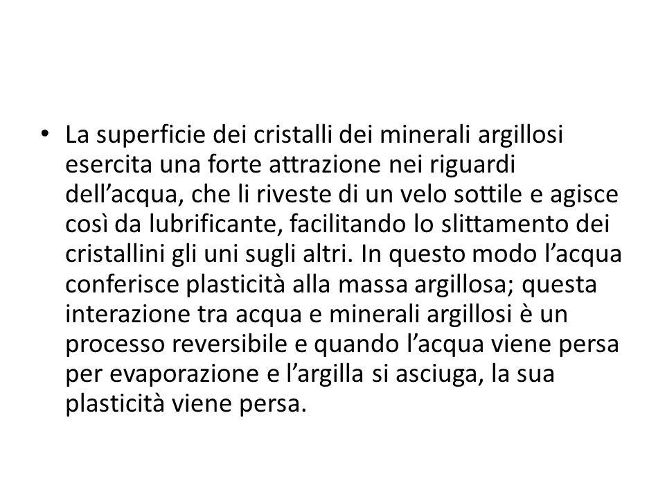 La superficie dei cristalli dei minerali argillosi esercita una forte attrazione nei riguardi dellacqua, che li riveste di un velo sottile e agisce co