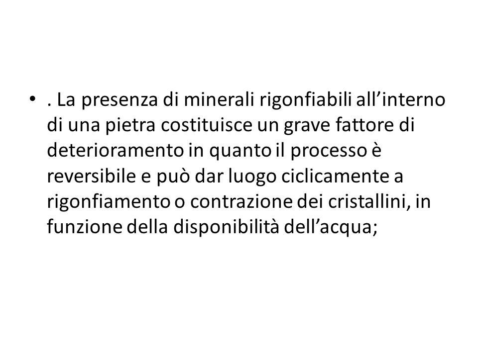 . La presenza di minerali rigonfiabili allinterno di una pietra costituisce un grave fattore di deterioramento in quanto il processo è reversibile e p
