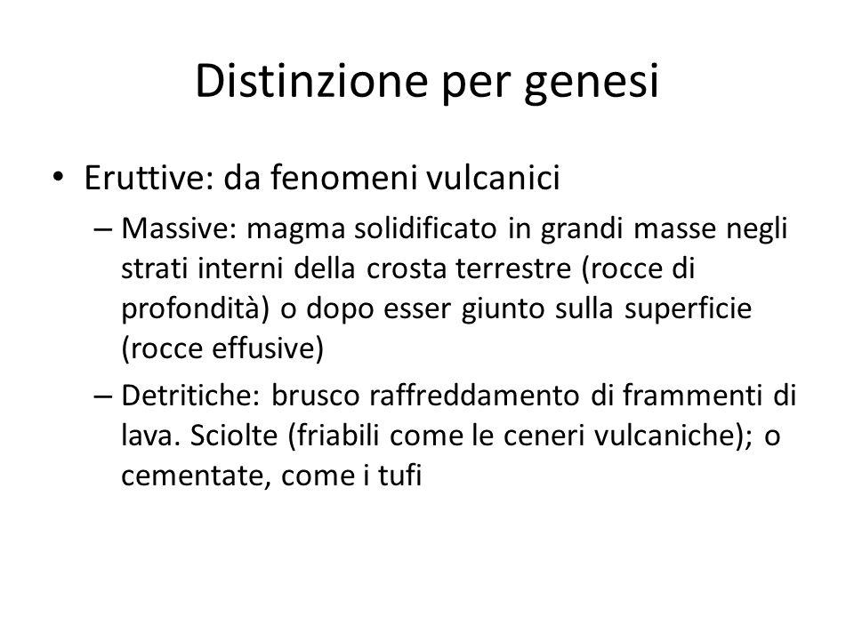Distinzione per genesi Eruttive: da fenomeni vulcanici – Massive: magma solidificato in grandi masse negli strati interni della crosta terrestre (rocc
