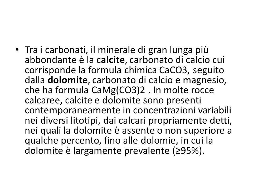 Tra i carbonati, il minerale di gran lunga più abbondante è la calcite, carbonato di calcio cui corrisponde la formula chimica CaCO3, seguito dalla do