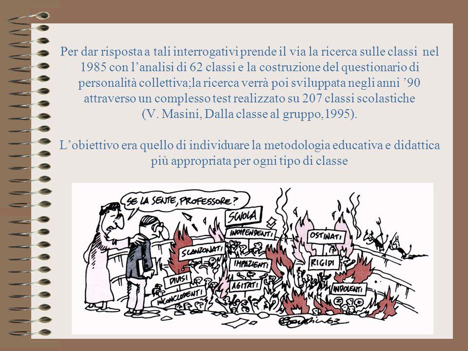 Per dar risposta a tali interrogativi prende il via la ricerca sulle classi nel 1985 con lanalisi di 62 classi e la costruzione del questionario di pe