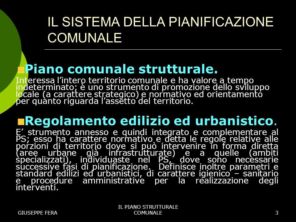 GIUSEPPE FERA IL PIANO STRUTTURALE COMUNALE4 IL SISTEMA DELLA PIANIFICAZIONE COMUNALE Piano operativo temporale.