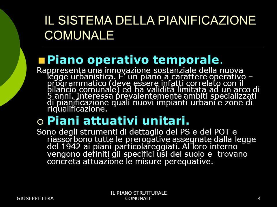 GIUSEPPE FERA IL PIANO STRUTTURALE COMUNALE5 IL SISTEMA DELLA PIANIFICAZIONE COMUNALE Comparti edificatori.