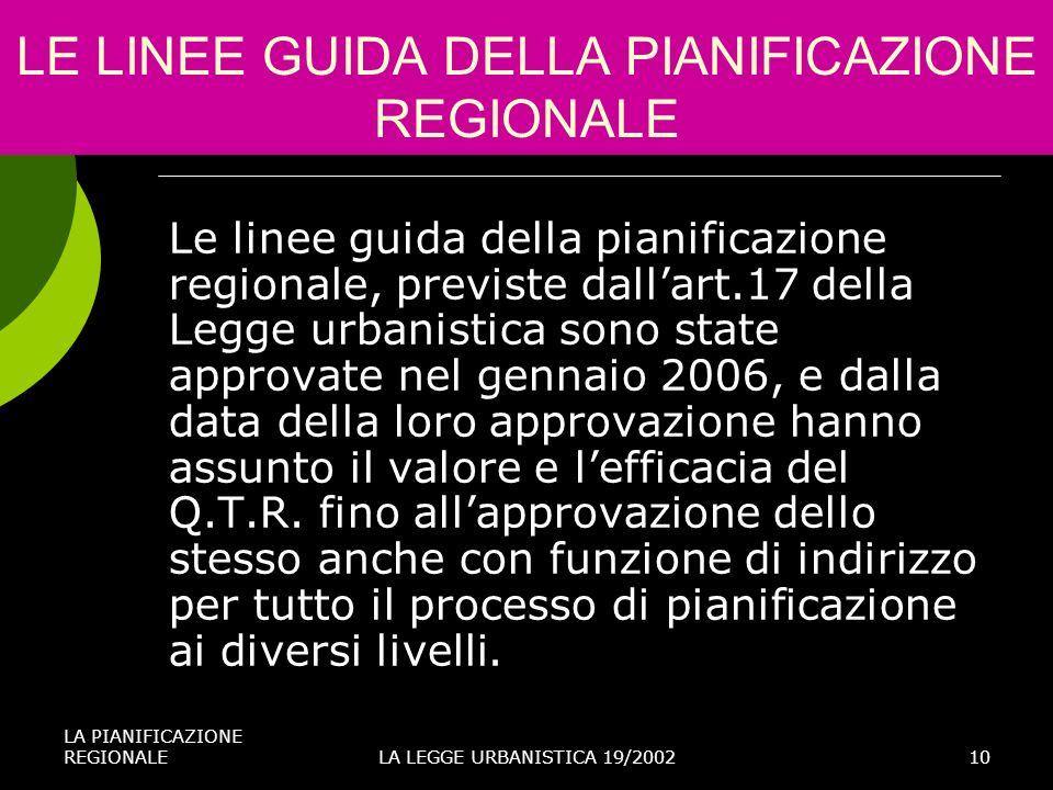 LA PIANIFICAZIONE REGIONALELA LEGGE URBANISTICA 19/200210 LE LINEE GUIDA DELLA PIANIFICAZIONE REGIONALE Le linee guida della pianificazione regionale,