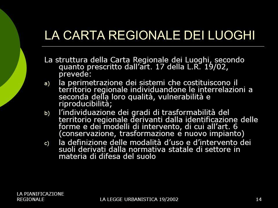 LA PIANIFICAZIONE REGIONALELA LEGGE URBANISTICA 19/200214 LA CARTA REGIONALE DEI LUOGHI La struttura della Carta Regionale dei Luoghi, secondo quanto prescritto dallart.
