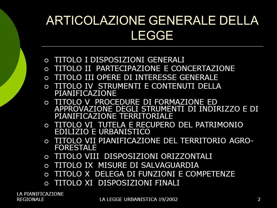 LA PIANIFICAZIONE REGIONALELA LEGGE URBANISTICA 19/20022 ARTICOLAZIONE GENERALE DELLA LEGGE TITOLO I DISPOSIZIONI GENERALI TITOLO II PARTECIPAZIONE E