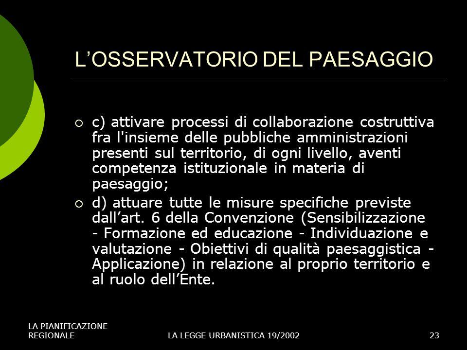 LA PIANIFICAZIONE REGIONALELA LEGGE URBANISTICA 19/200223 LOSSERVATORIO DEL PAESAGGIO c) attivare processi di collaborazione costruttiva fra l'insieme