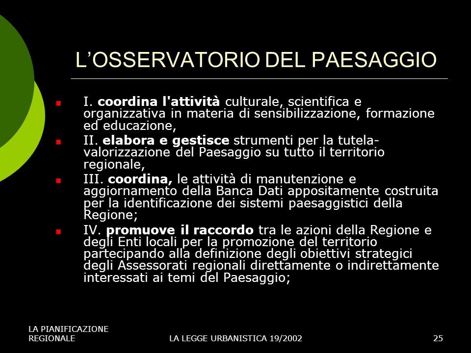 LA PIANIFICAZIONE REGIONALELA LEGGE URBANISTICA 19/200225 LOSSERVATORIO DEL PAESAGGIO I.
