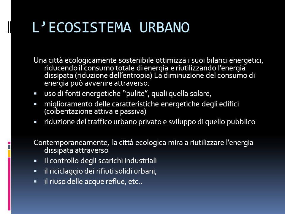 LECOSISTEMA URBANO Una città ecologicamente sostenibile ottimizza i suoi bilanci energetici, riducendo il consumo totale di energia e riutilizzando le