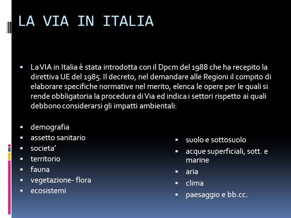 LA VIA IN ITALIA La VIA in Italia è stata introdotta con il Dpcm del 1988 che ha recepito la direttiva UE del 1985. Il decreto, nel demandare alle Reg