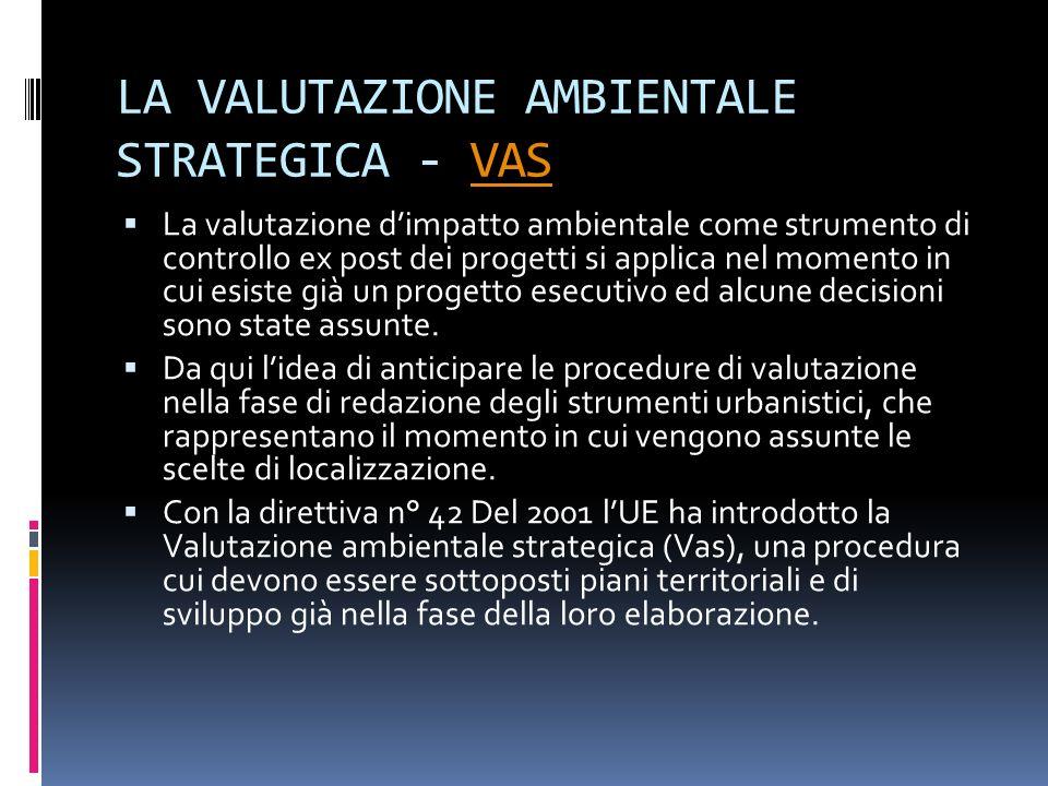 LA VALUTAZIONE AMBIENTALE STRATEGICA - VASVAS La valutazione dimpatto ambientale come strumento di controllo ex post dei progetti si applica nel momen