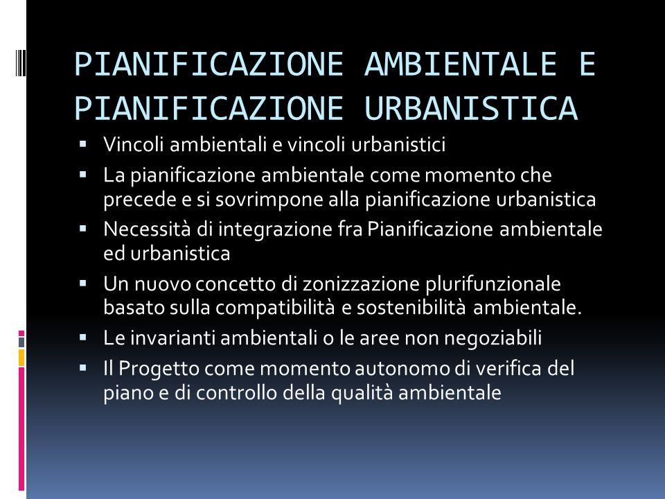 PIANIFICAZIONE AMBIENTALE E PIANIFICAZIONE URBANISTICA Vincoli ambientali e vincoli urbanistici La pianificazione ambientale come momento che precede e si sovrimpone alla pianificazione urbanistica Necessità di integrazione fra Pianificazione ambientale ed urbanistica Un nuovo concetto di zonizzazione plurifunzionale basato sulla compatibilità e sostenibilità ambientale.