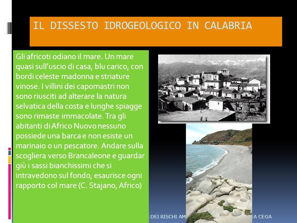 IL DISSESTO IDROGEOLOGICO IN CALABRIA CORSO DI LAUREA CEGAANALISI E MITIGAZIONE DEI RISCHI AMBIENTALI Gli africoti odiano il mare.